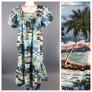 Vintage 80s Hawaiian muumuu caftan dress